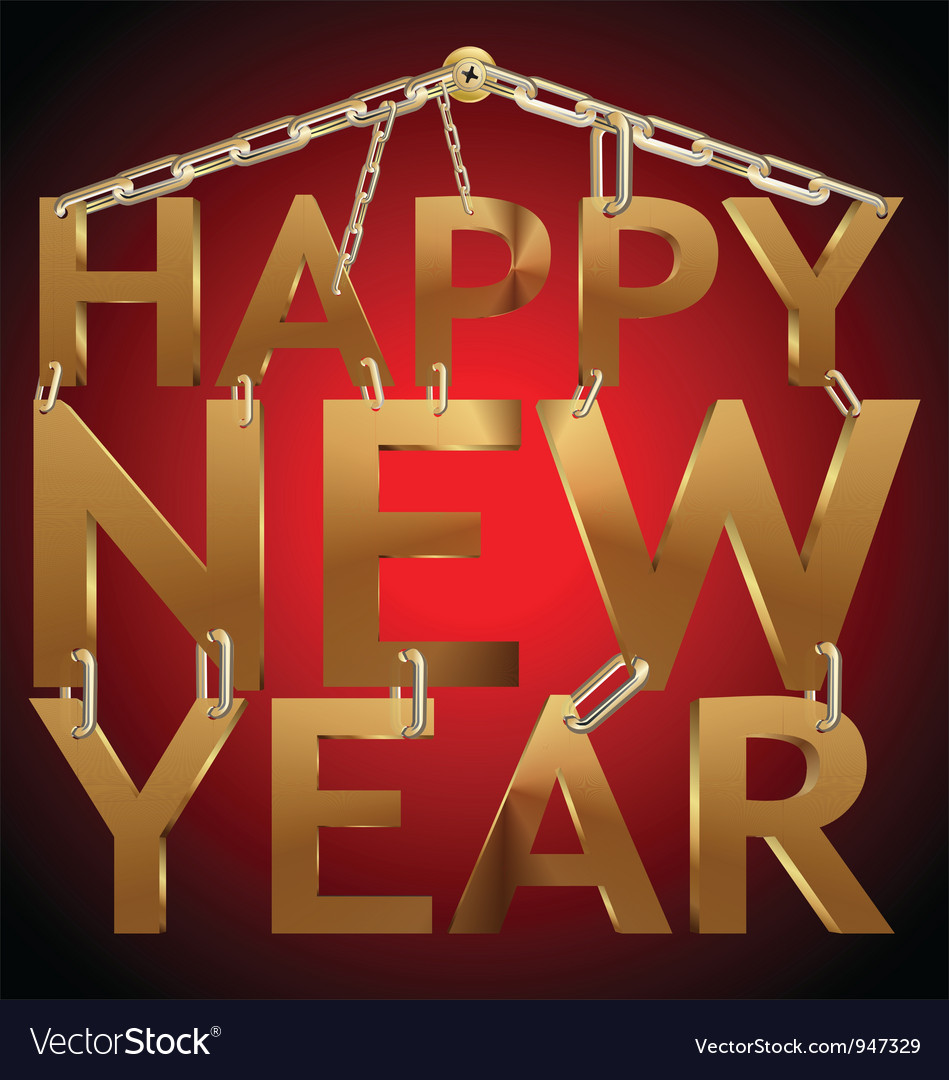 Happy new year 3d golden text on chain vector | Price: 1 Credit (USD $1)