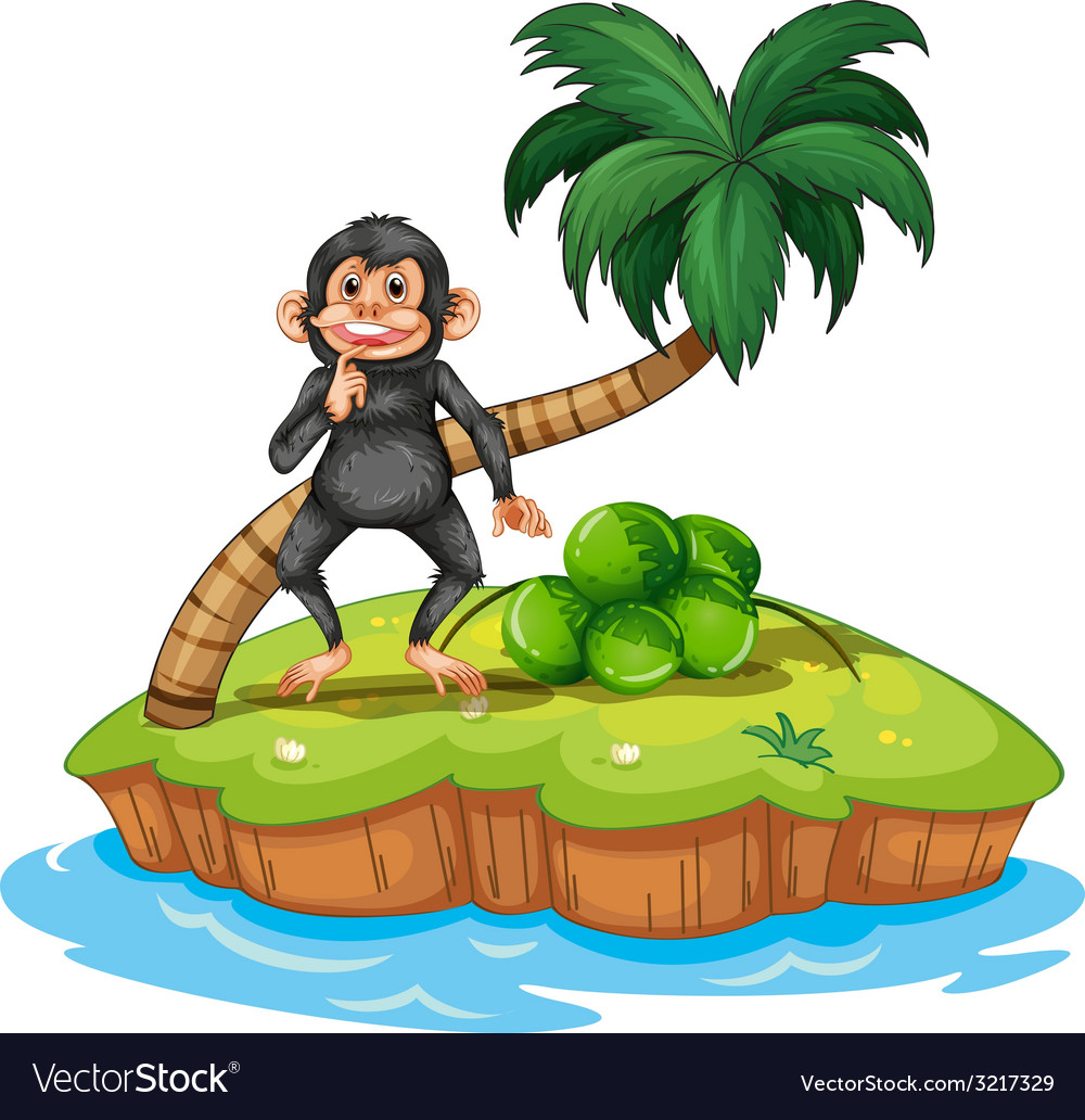 Monkey and island vector | Price: 3 Credit (USD $3)