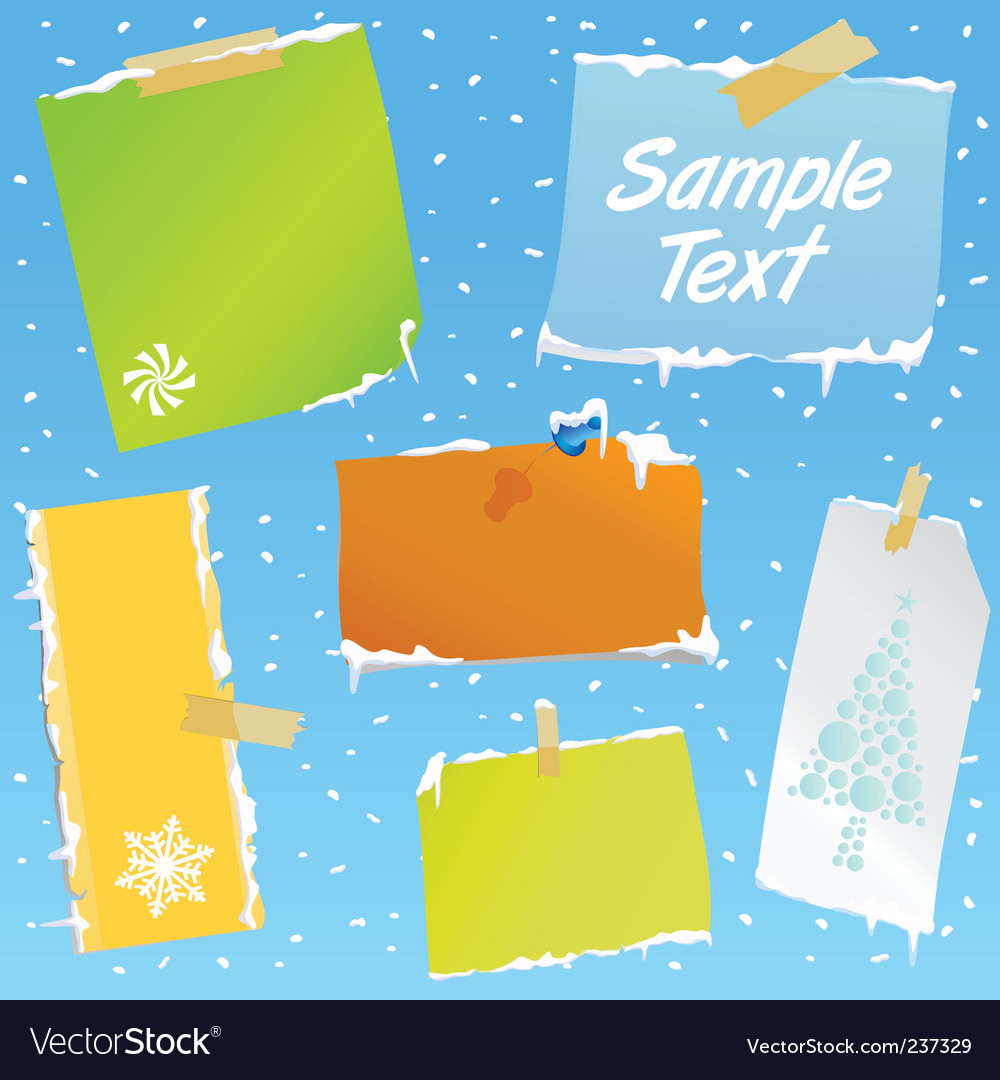 Note paper with snow effect vector | Price: 1 Credit (USD $1)