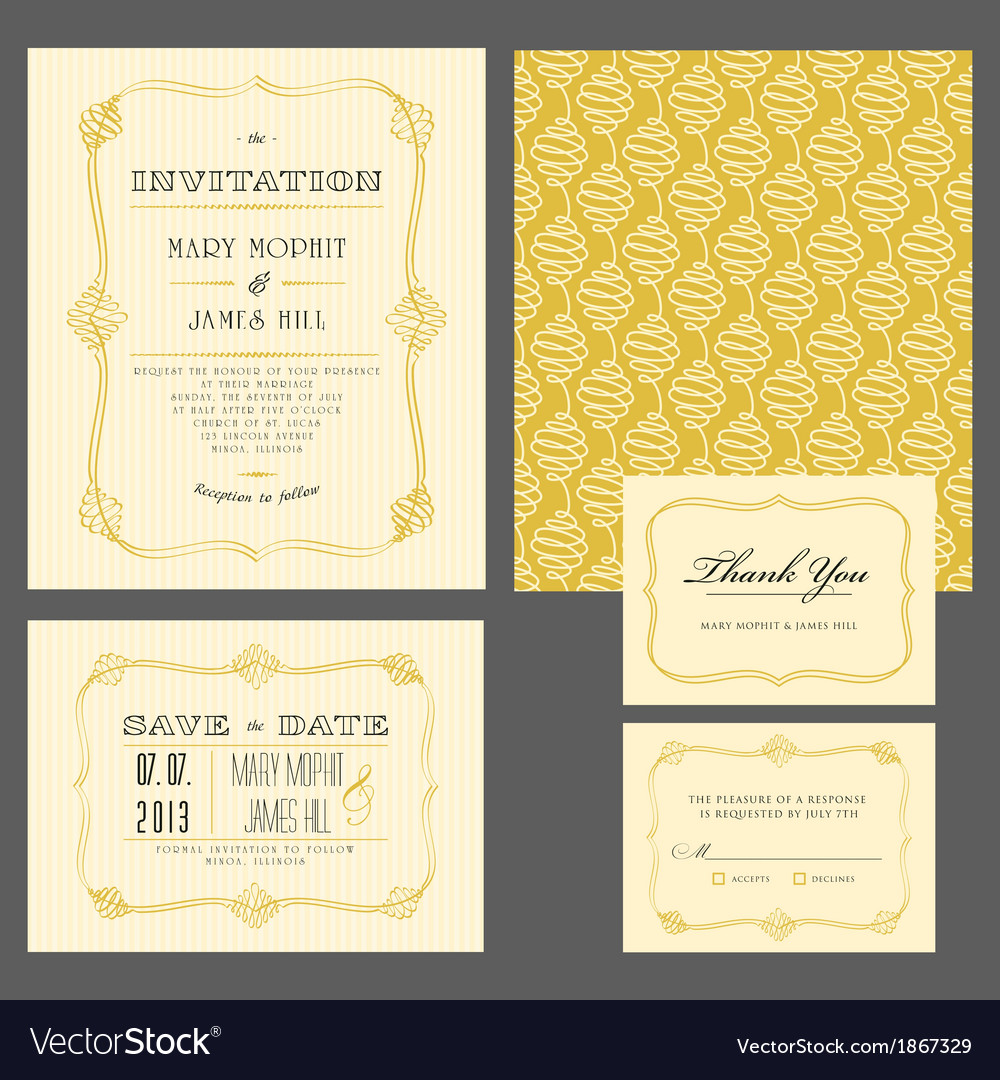Set classic invitation vector | Price: 1 Credit (USD $1)