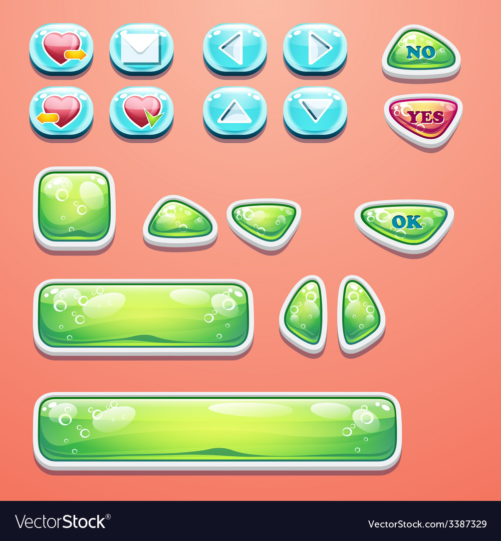 Set glamorous buttons with an ok button buttons vector | Price: 1 Credit (USD $1)