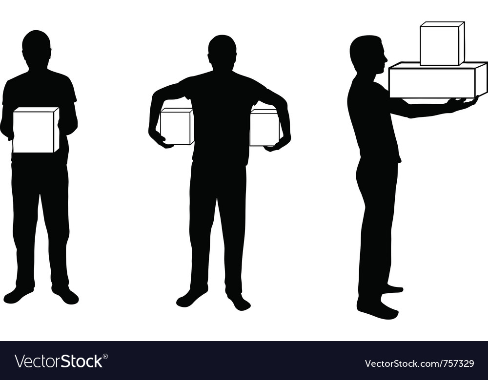 Silhouette of man with box in different positions vector | Price: 1 Credit (USD $1)