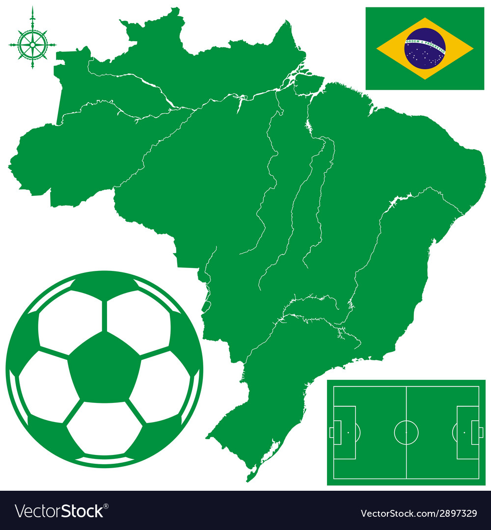 Soccerball on map of brazil vector | Price: 1 Credit (USD $1)