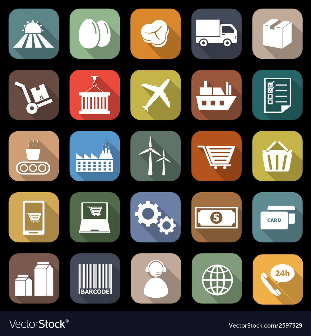 Supply chain flat icons with long shadow vector | Price: 1 Credit (USD $1)