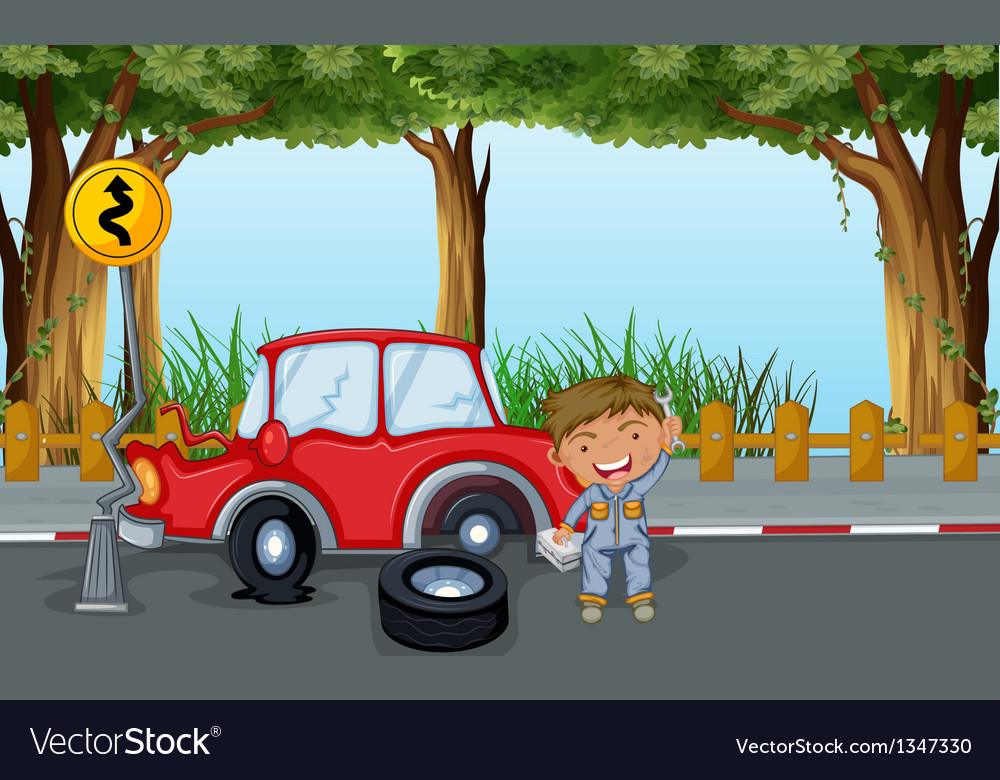 A boy with tools and a red car at the road vector | Price: 1 Credit (USD $1)