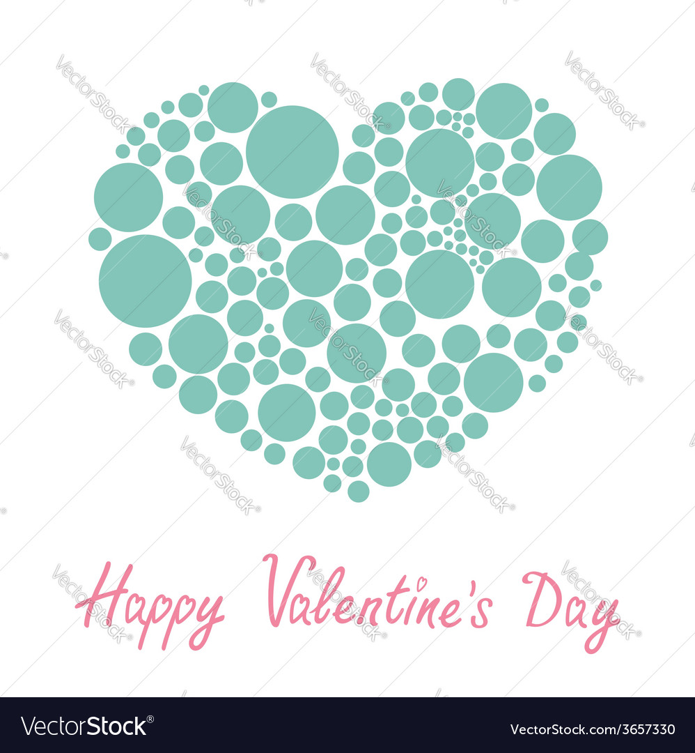 Blue heart made from many round dots love card vector | Price: 1 Credit (USD $1)
