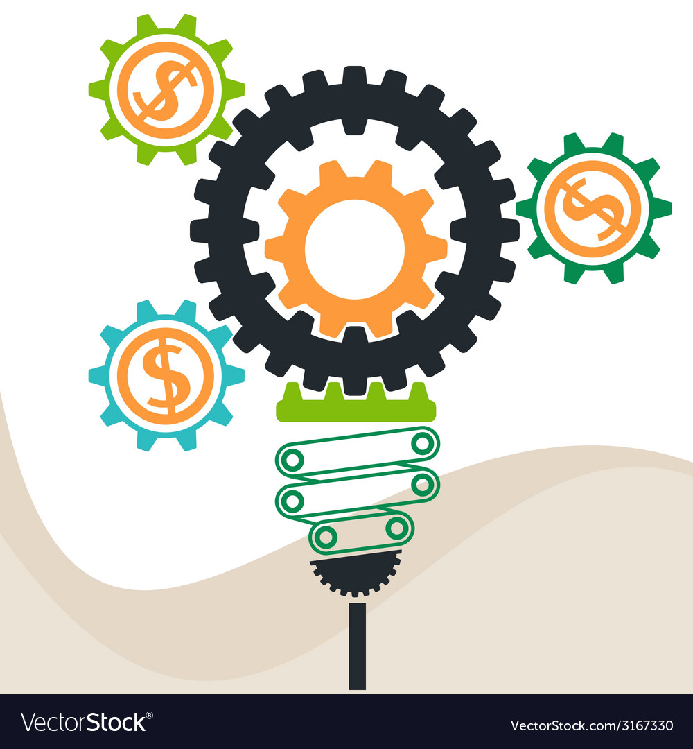 Busines idea in gear symbols vector | Price: 1 Credit (USD $1)