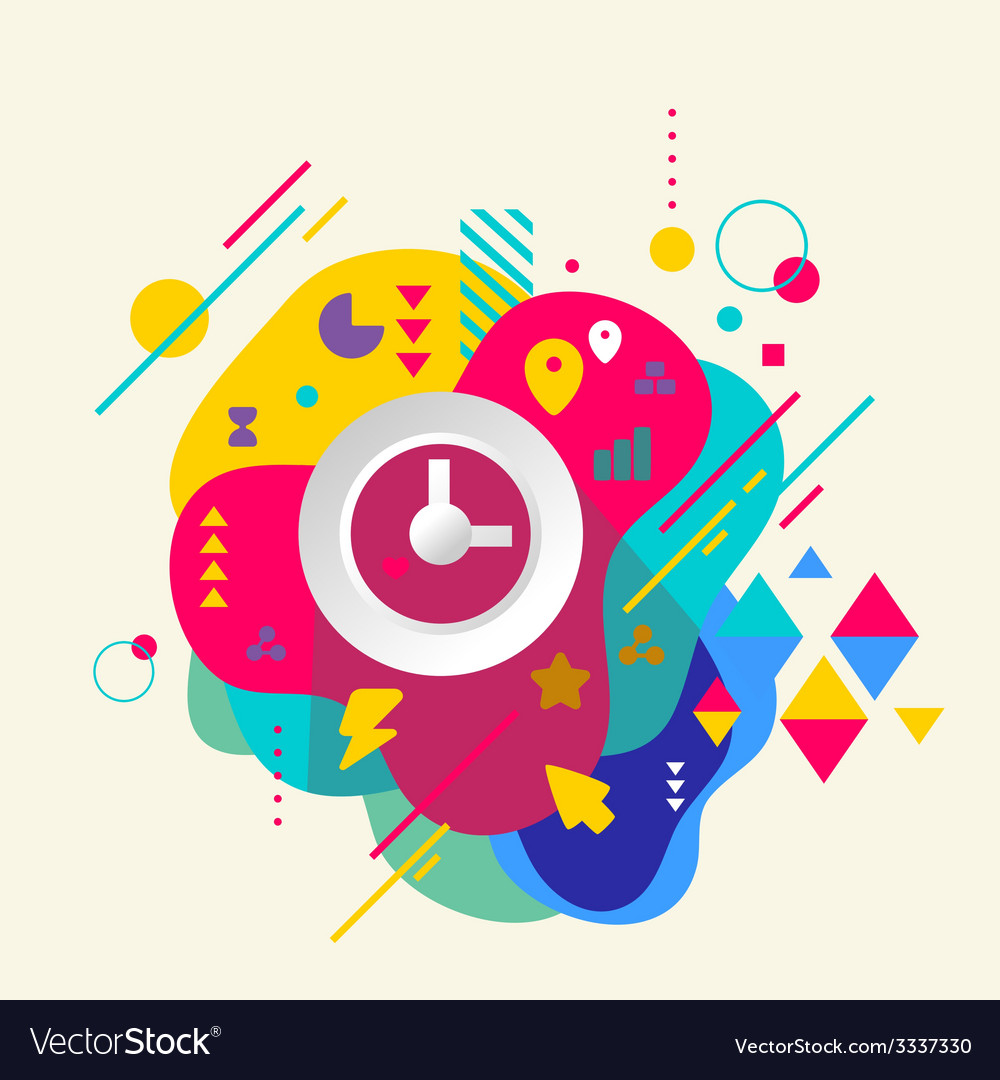 Clock on abstract colorful spotted background with vector | Price: 3 Credit (USD $3)