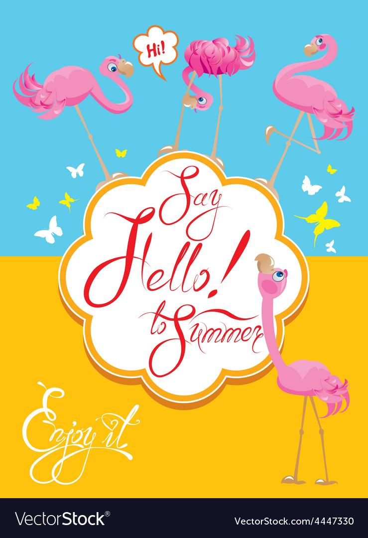 Flamingo card 2 380 vector | Price: 3 Credit (USD $3)