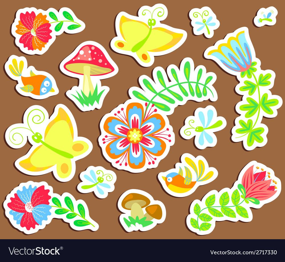 Floral stickers vector | Price: 1 Credit (USD $1)