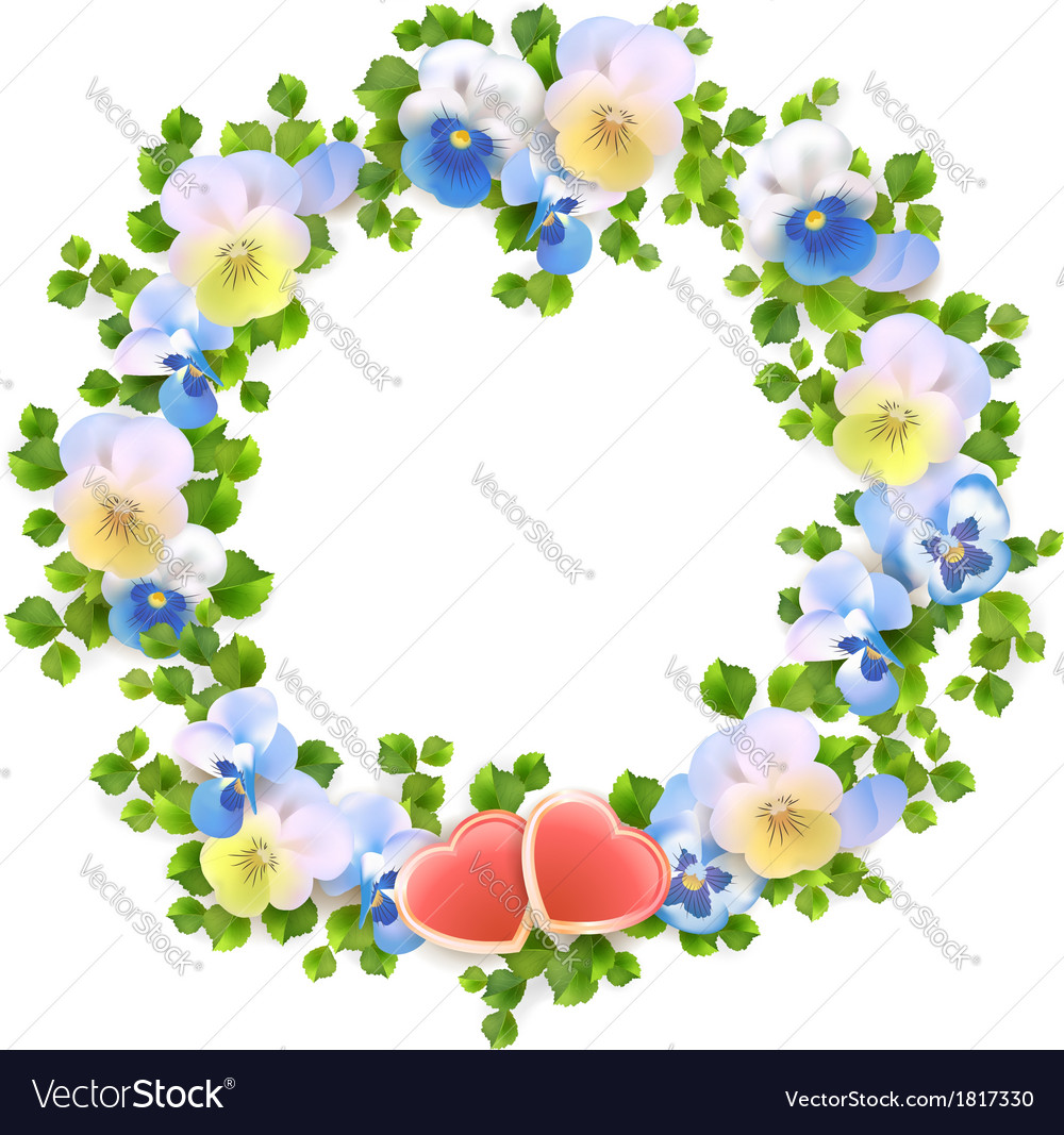 Floral wreath with flowers and hearts vector | Price: 1 Credit (USD $1)