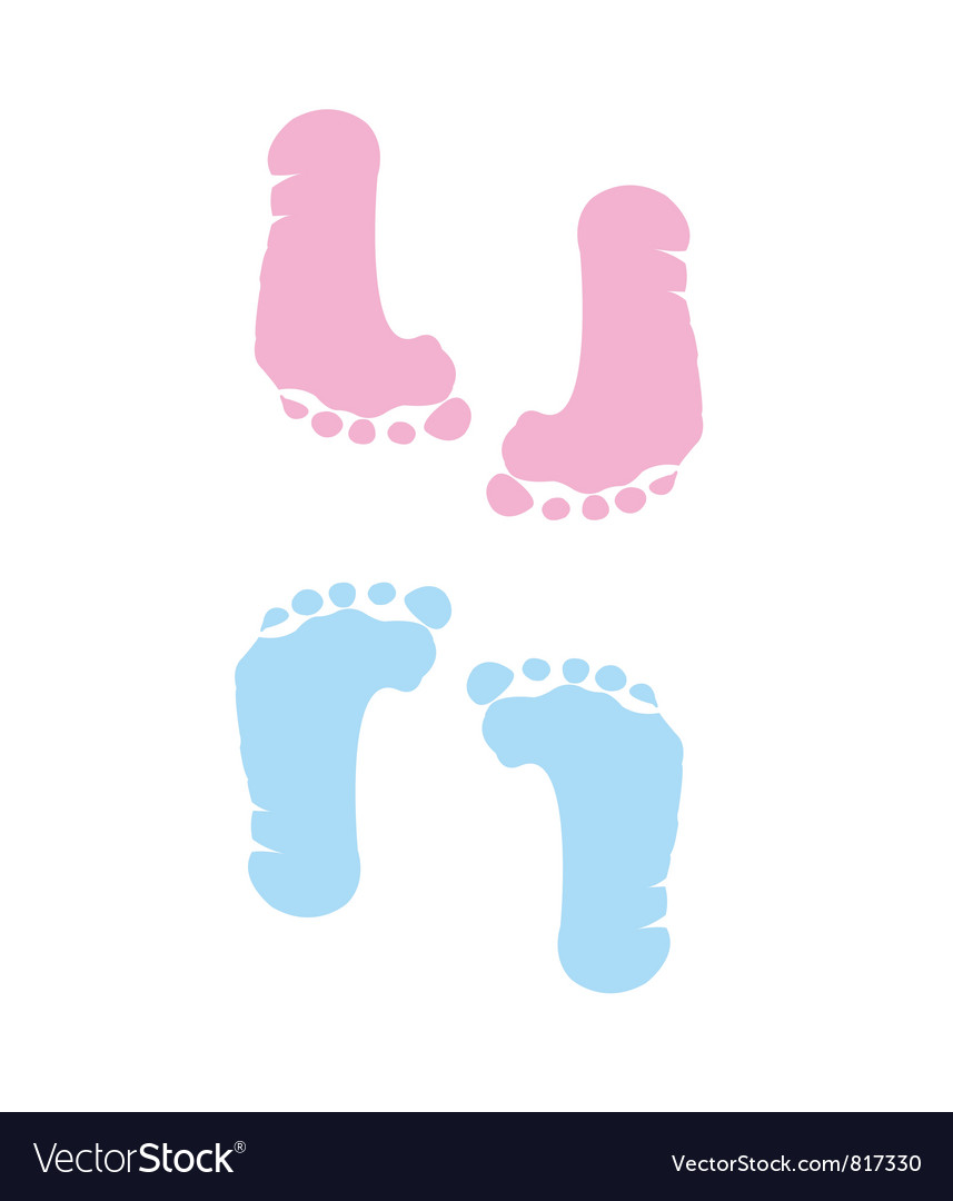 Footprint of girl and boy vector | Price: 1 Credit (USD $1)