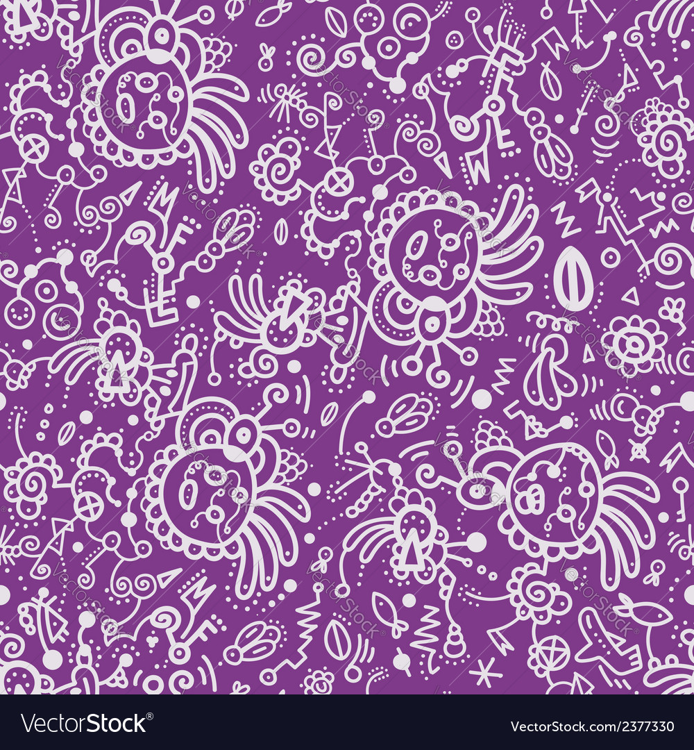 Funny doodle seamless pattern on lilac background vector | Price: 1 Credit (USD $1)