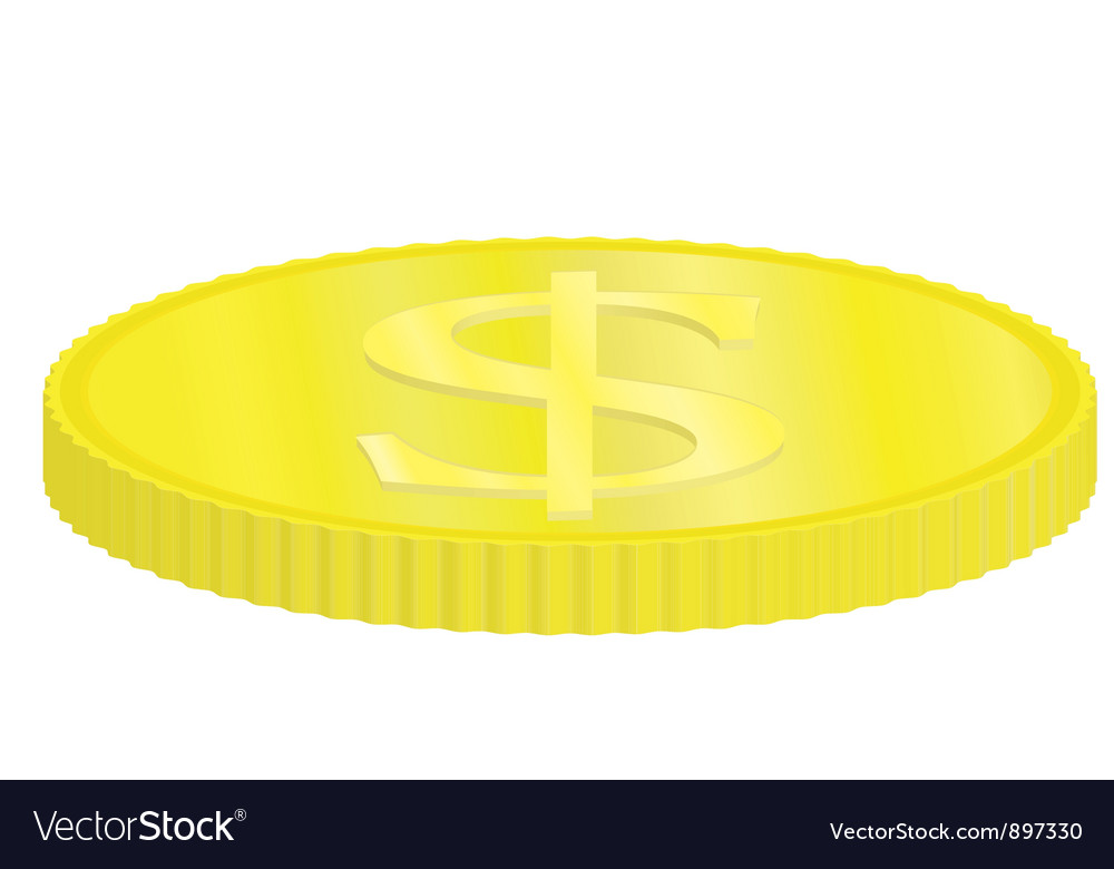 Golden dollar coin vector | Price: 1 Credit (USD $1)