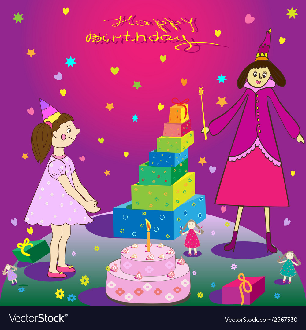 Happy birthday gift girl cake and fairy vector | Price: 1 Credit (USD $1)