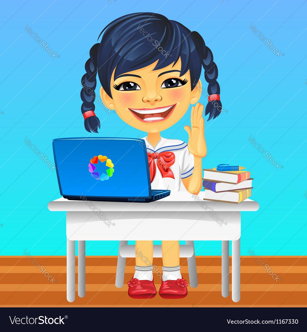 Happy smiling asian schoolgirl vector | Price: 3 Credit (USD $3)