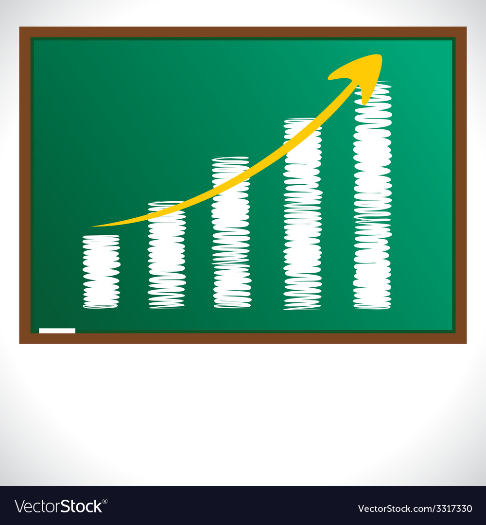 Market graph draw on green board vector | Price: 1 Credit (USD $1)