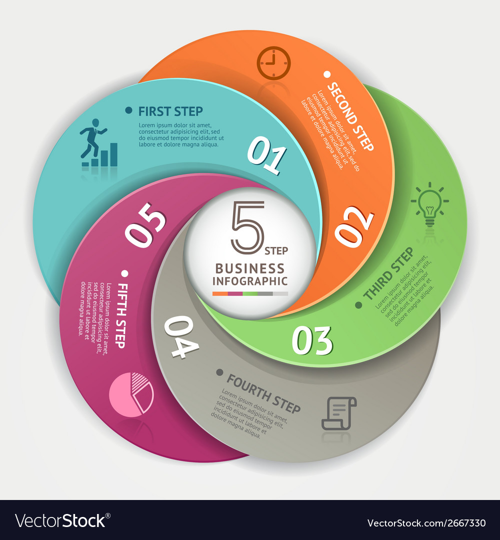 Modern business circle infographics origami style vector | Price: 1 Credit (USD $1)