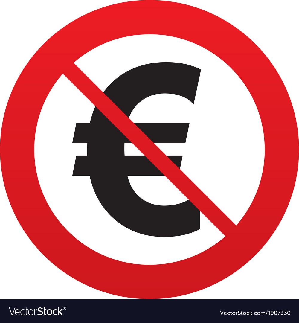 No euro sign icon eur currency symbol vector | Price: 1 Credit (USD $1)