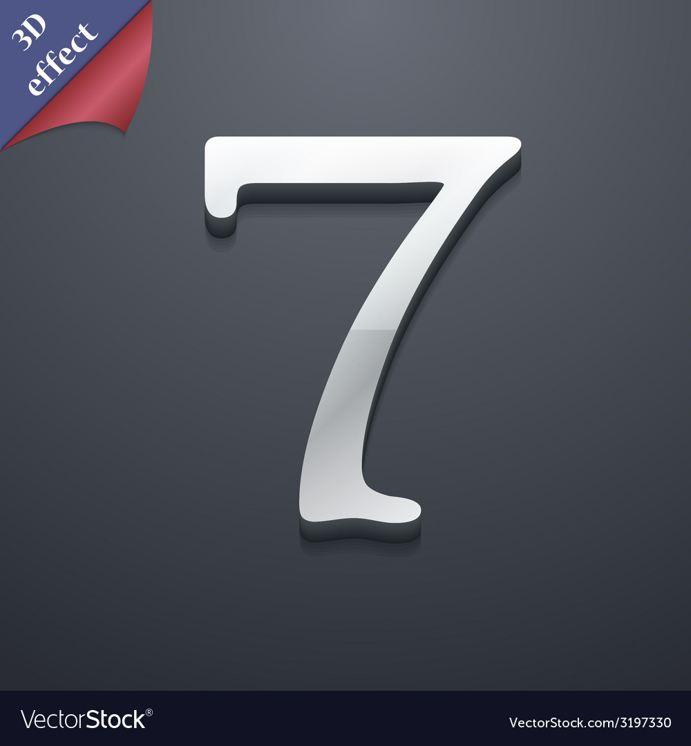 Number seven icon symbol 3d style trendy modern vector | Price: 1 Credit (USD $1)