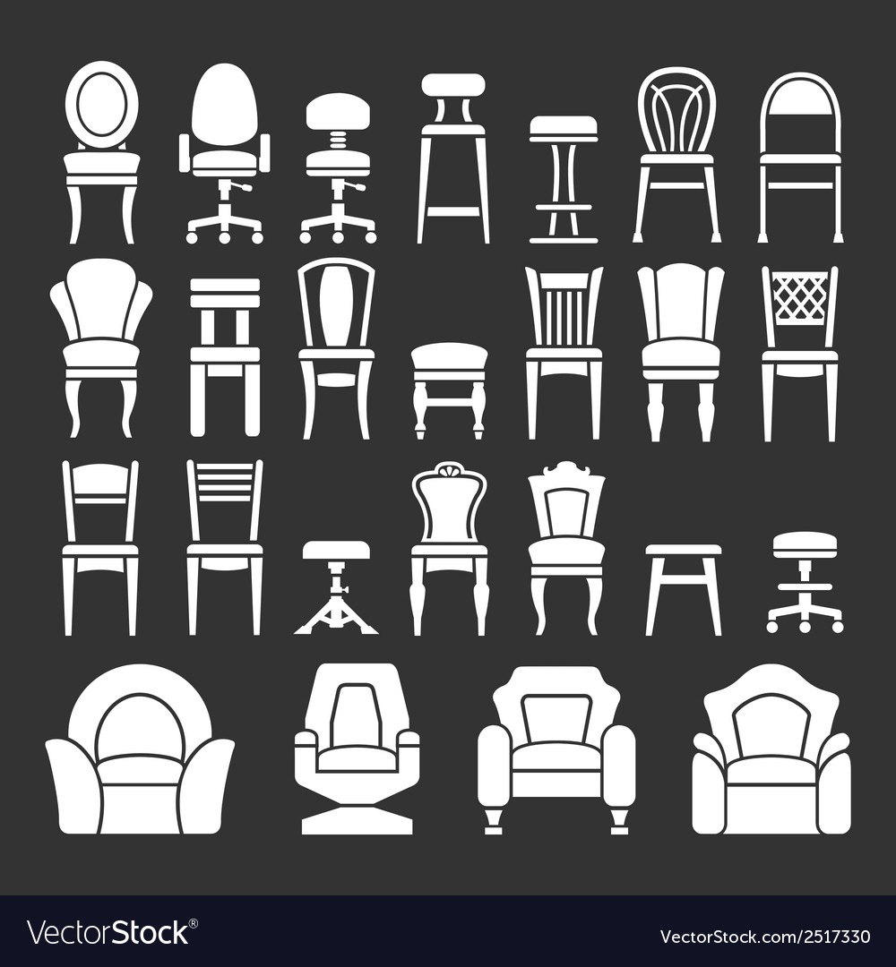 Set icons of chairs vector | Price: 1 Credit (USD $1)