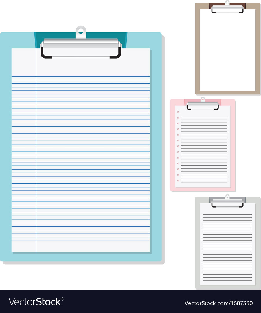 Set of plastic clipboard with paper vector | Price: 1 Credit (USD $1)