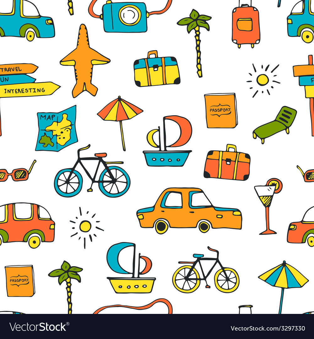 Vacation seamless pattern vector | Price: 1 Credit (USD $1)