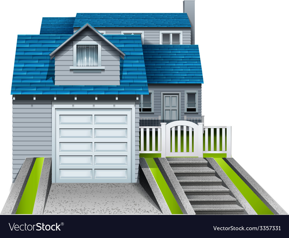 A concrete house with an attached garage vector | Price: 1 Credit (USD $1)
