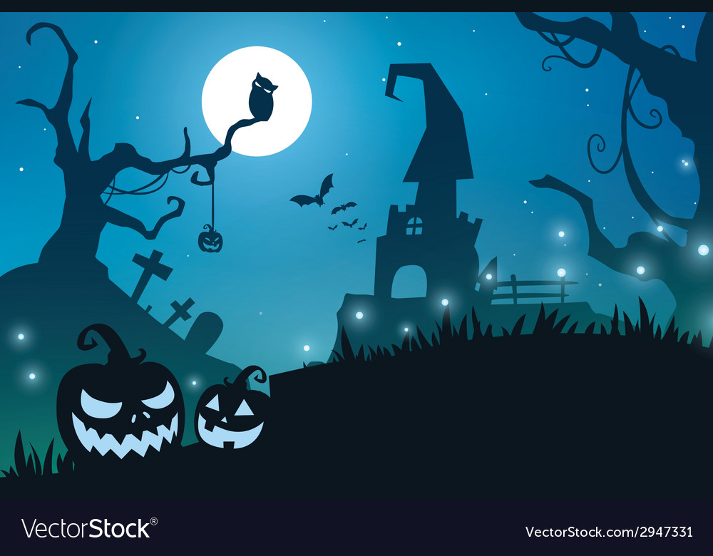 Blue halloween background vector | Price: 1 Credit (USD $1)