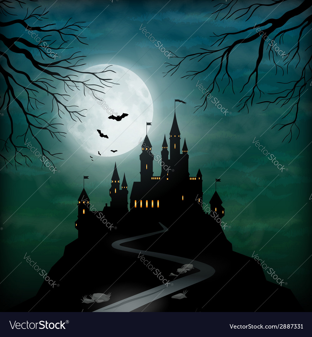 Fantasy castle moonlight sky vector | Price: 3 Credit (USD $3)