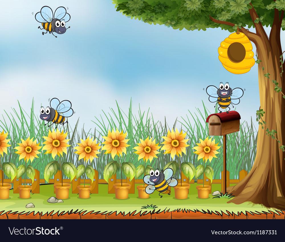 Four bees in the garden vector