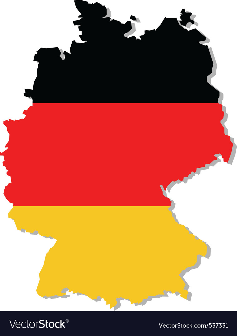 Germany flag on map vector | Price: 1 Credit (USD $1)