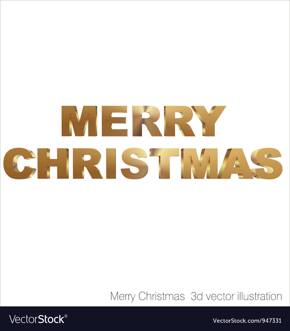 Merry christmas 3d golden text vector | Price: 1 Credit (USD $1)