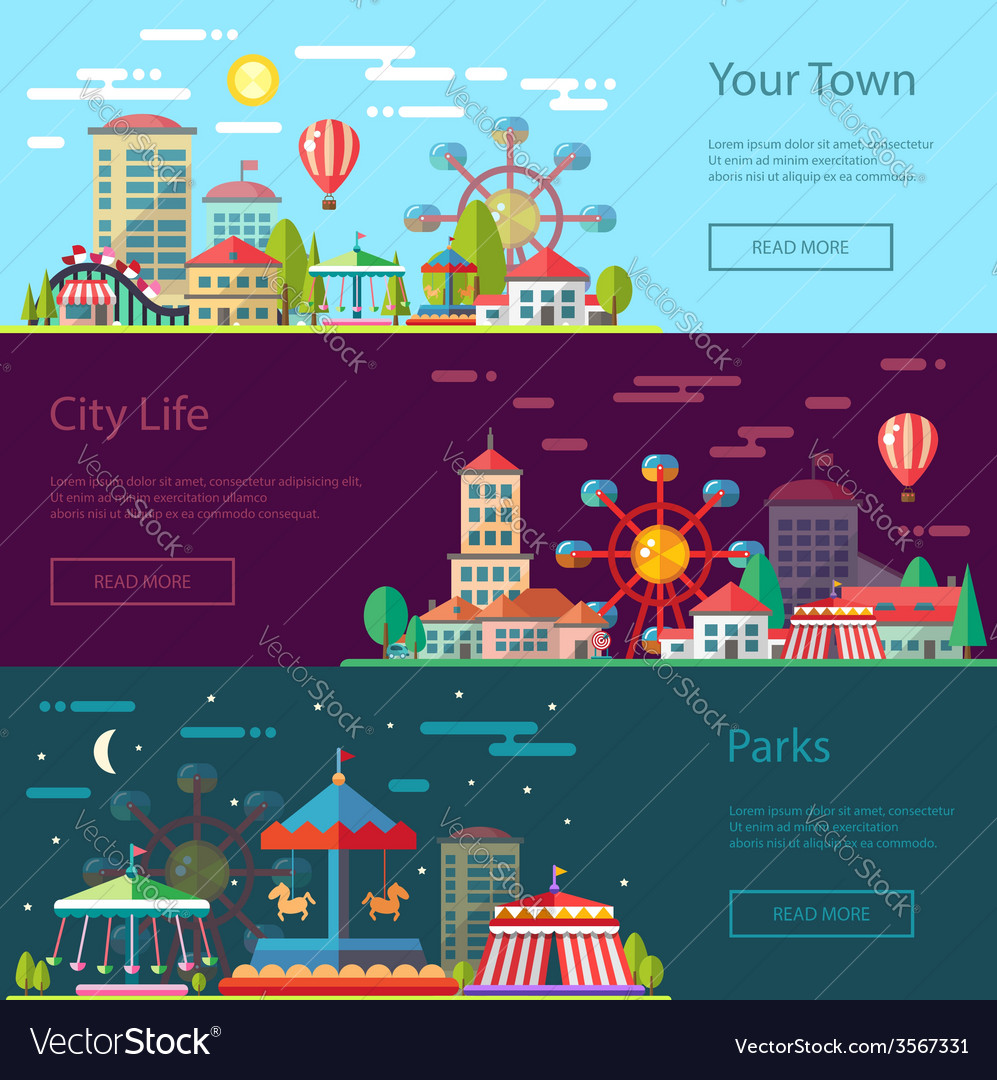 Modern flat design conceptual city with carousels vector | Price: 1 Credit (USD $1)