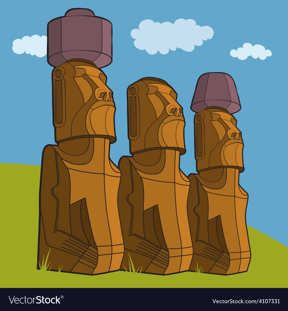 Sculptures of easter island rapa nui vector | Price: 1 Credit (USD $1)