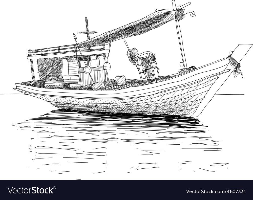 Thai fishing boat vector | Price: 1 Credit (USD $1)