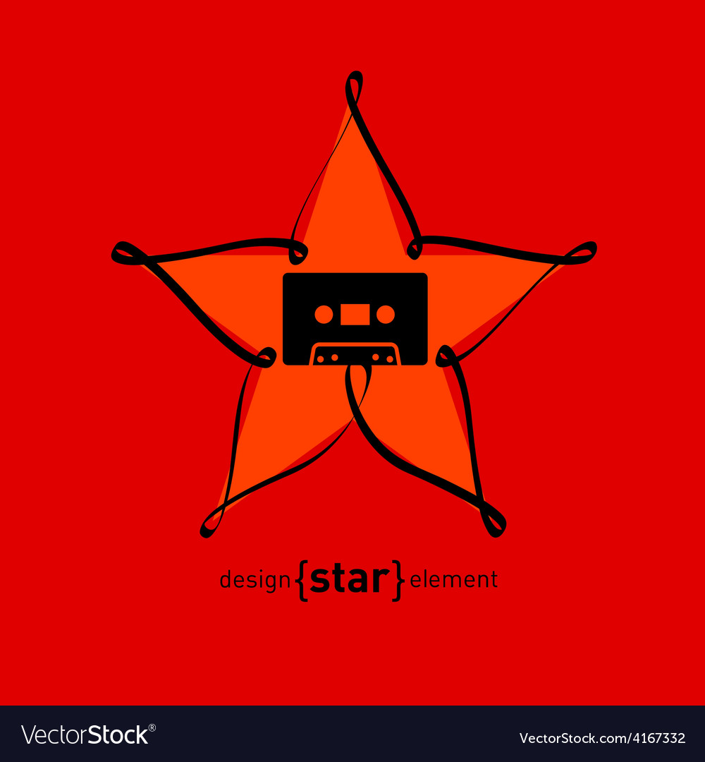 Audiocassette and design element star from tape vector | Price: 1 Credit (USD $1)