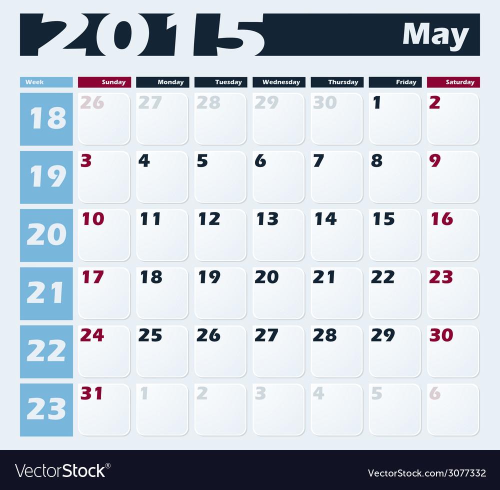 Calendar 2015 may design template vector | Price: 1 Credit (USD $1)