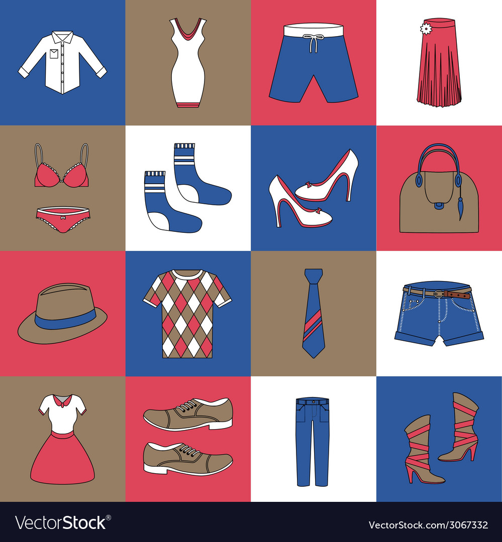 Clothes icons set flat line vector | Price: 1 Credit (USD $1)