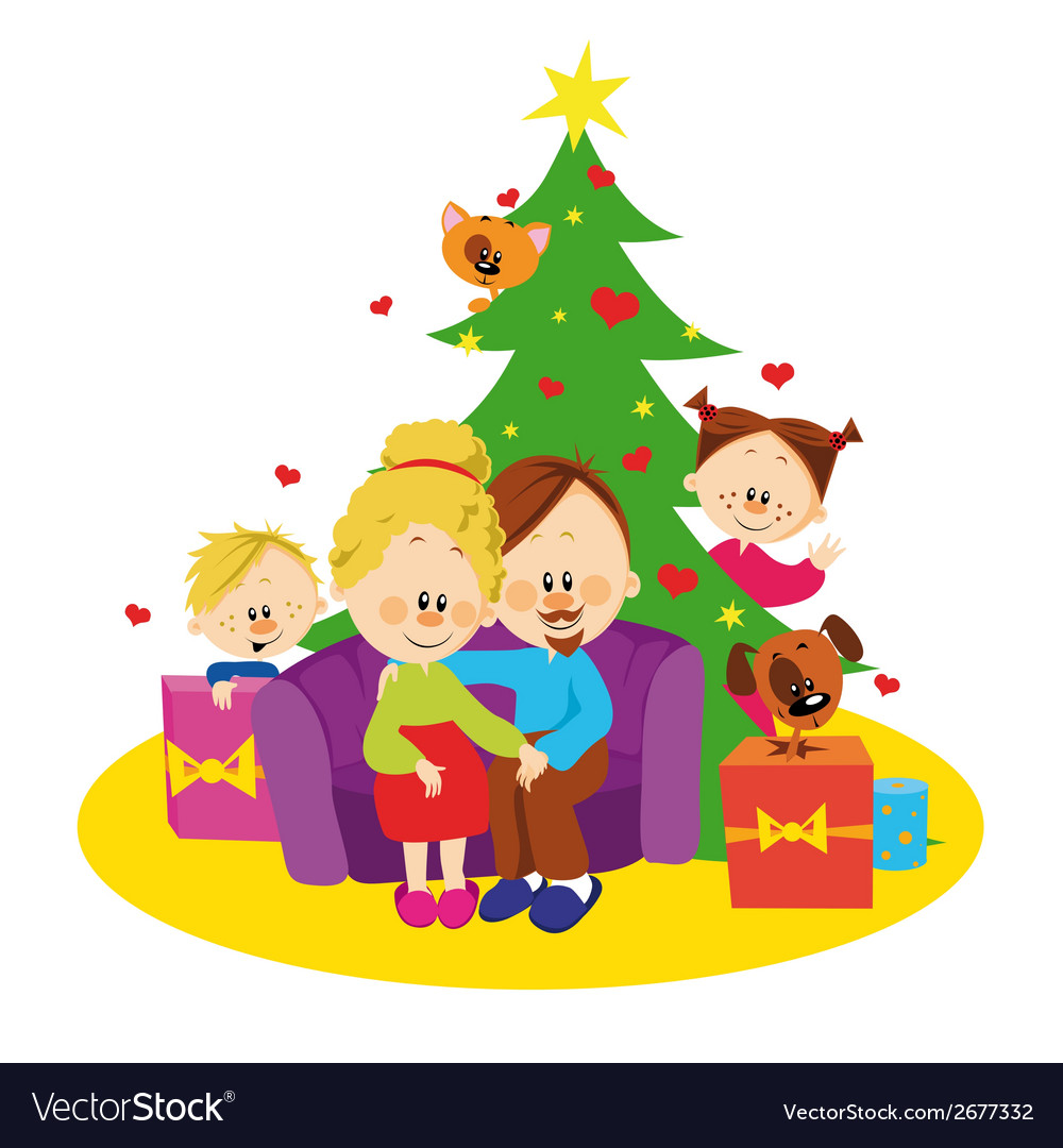 Family and christmas tree vector | Price: 1 Credit (USD $1)