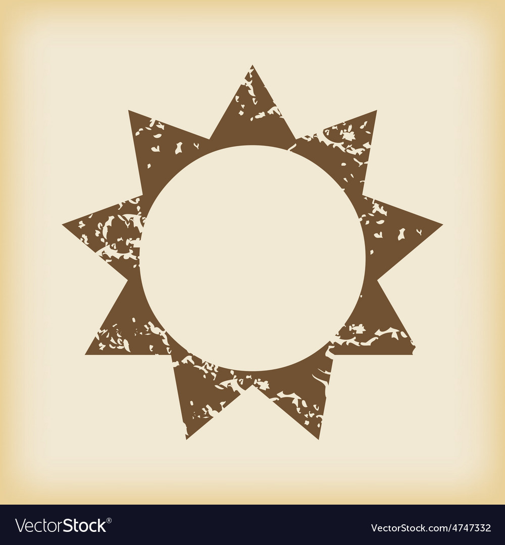 Grungy sun icon vector | Price: 1 Credit (USD $1)