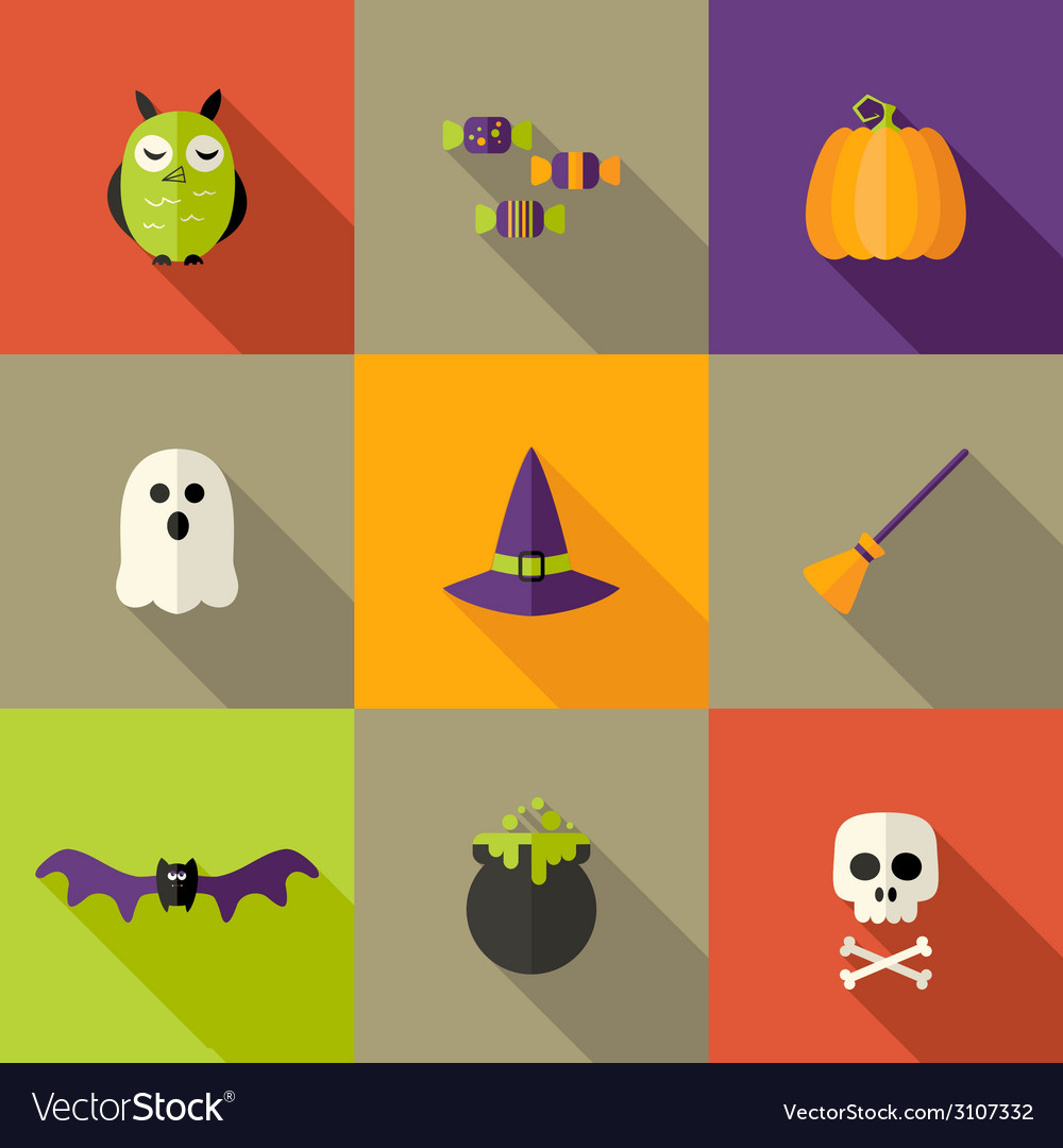 Halloween squared flat icons set 2 vector | Price: 1 Credit (USD $1)