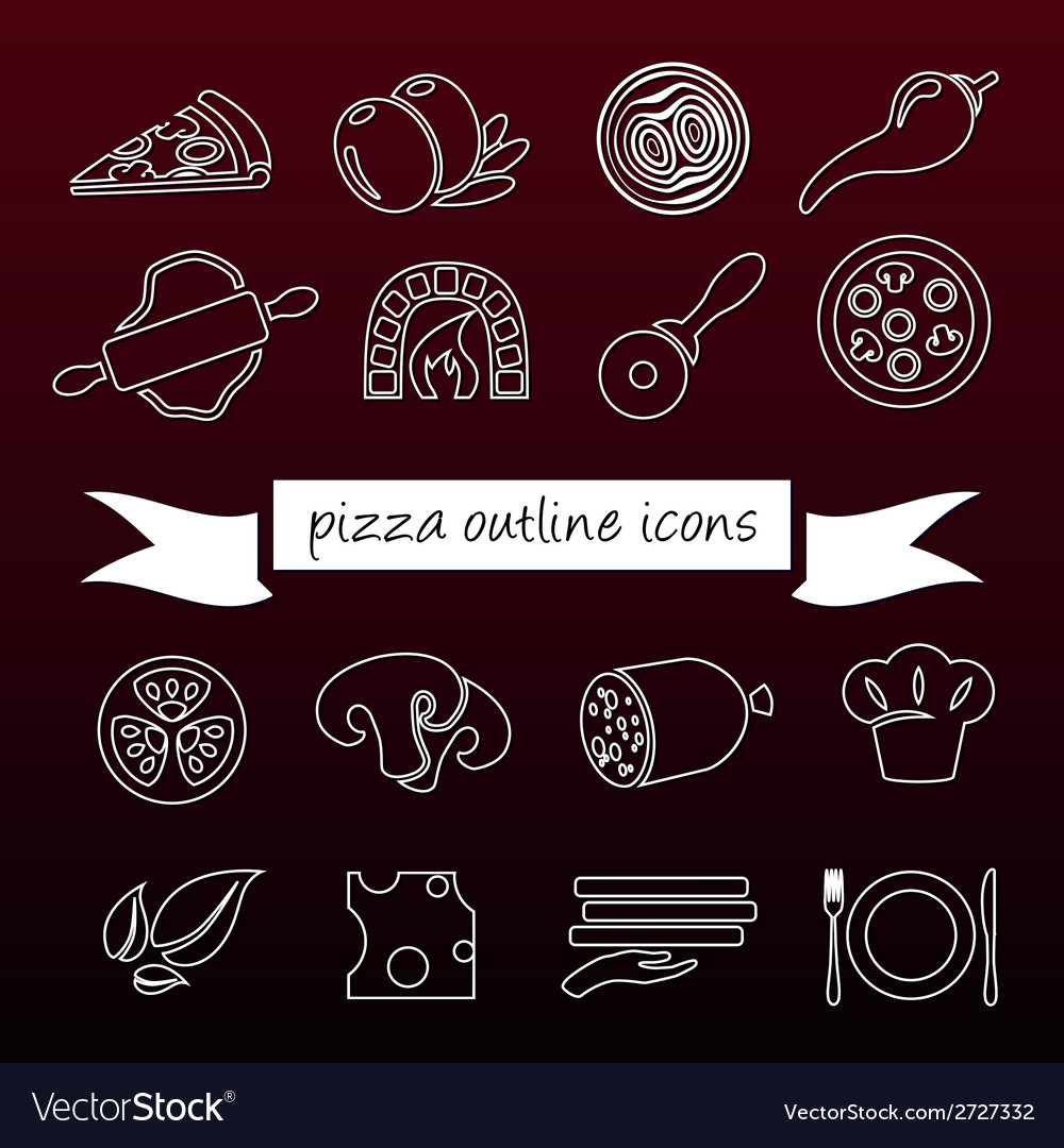 Pizza outline icons vector | Price: 1 Credit (USD $1)