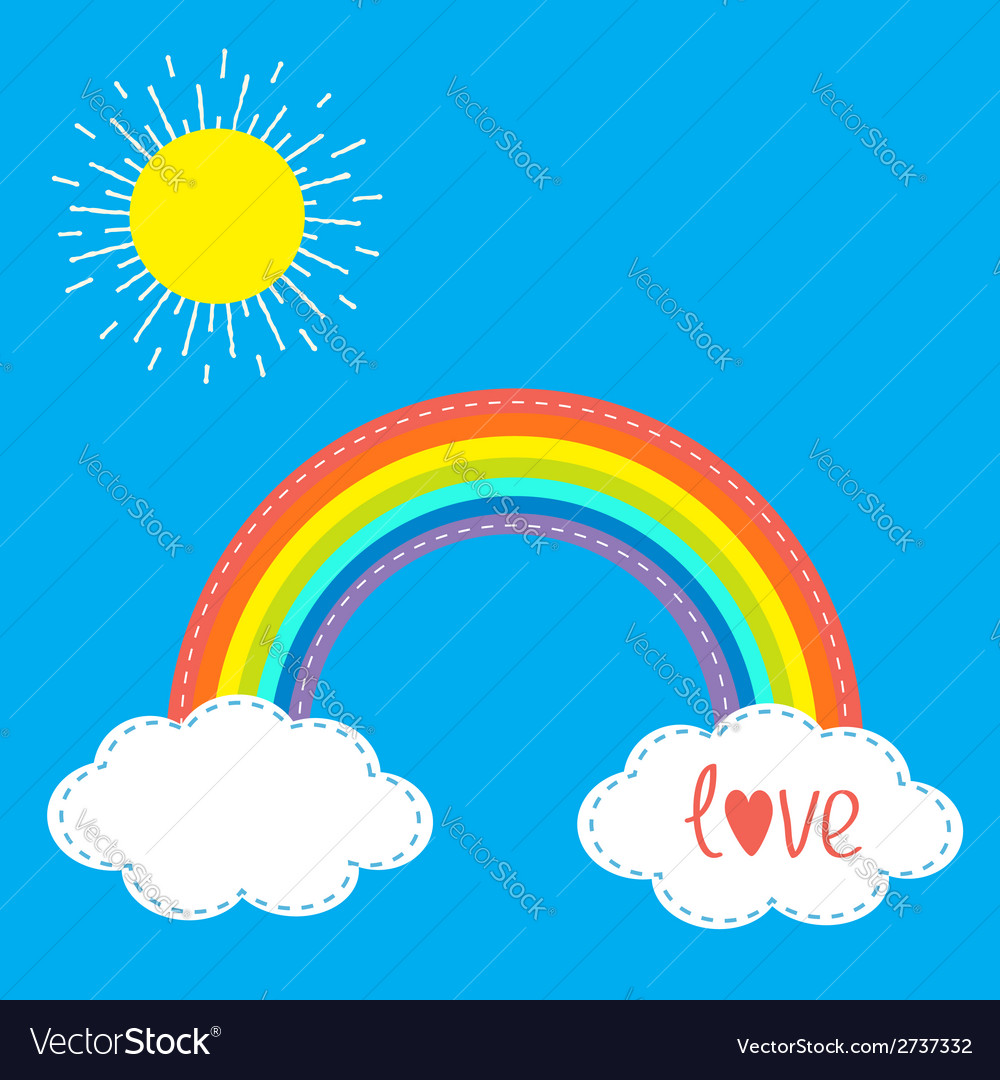 Rainbow clouds and sun in the sky dash line love vector | Price: 1 Credit (USD $1)