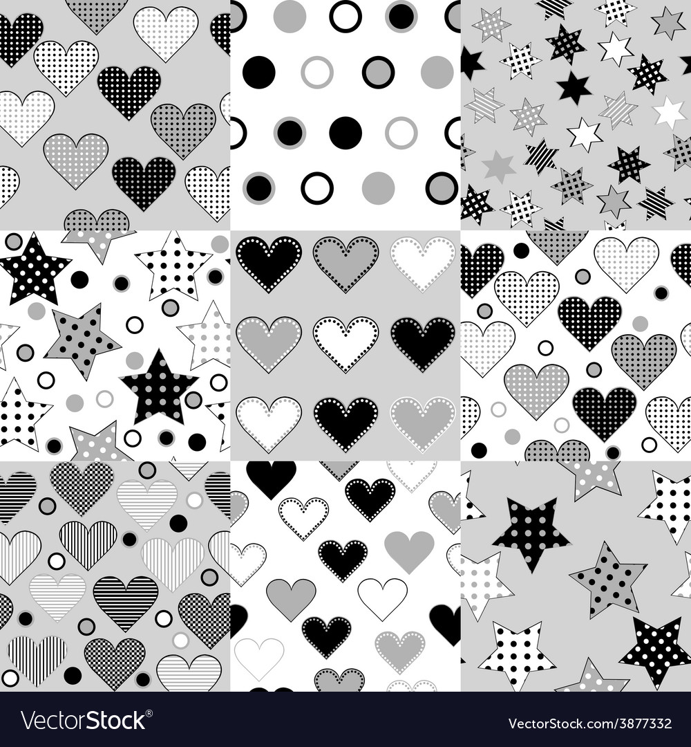 Set of black and white seamless background vector | Price: 1 Credit (USD $1)