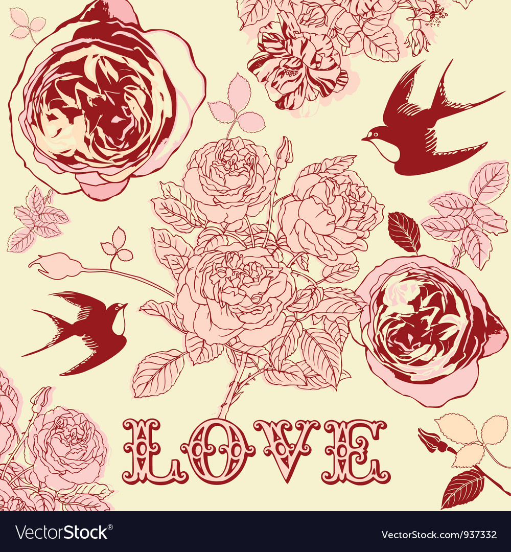 Vintage floral love pattern background vector | Price: 1 Credit (USD $1)