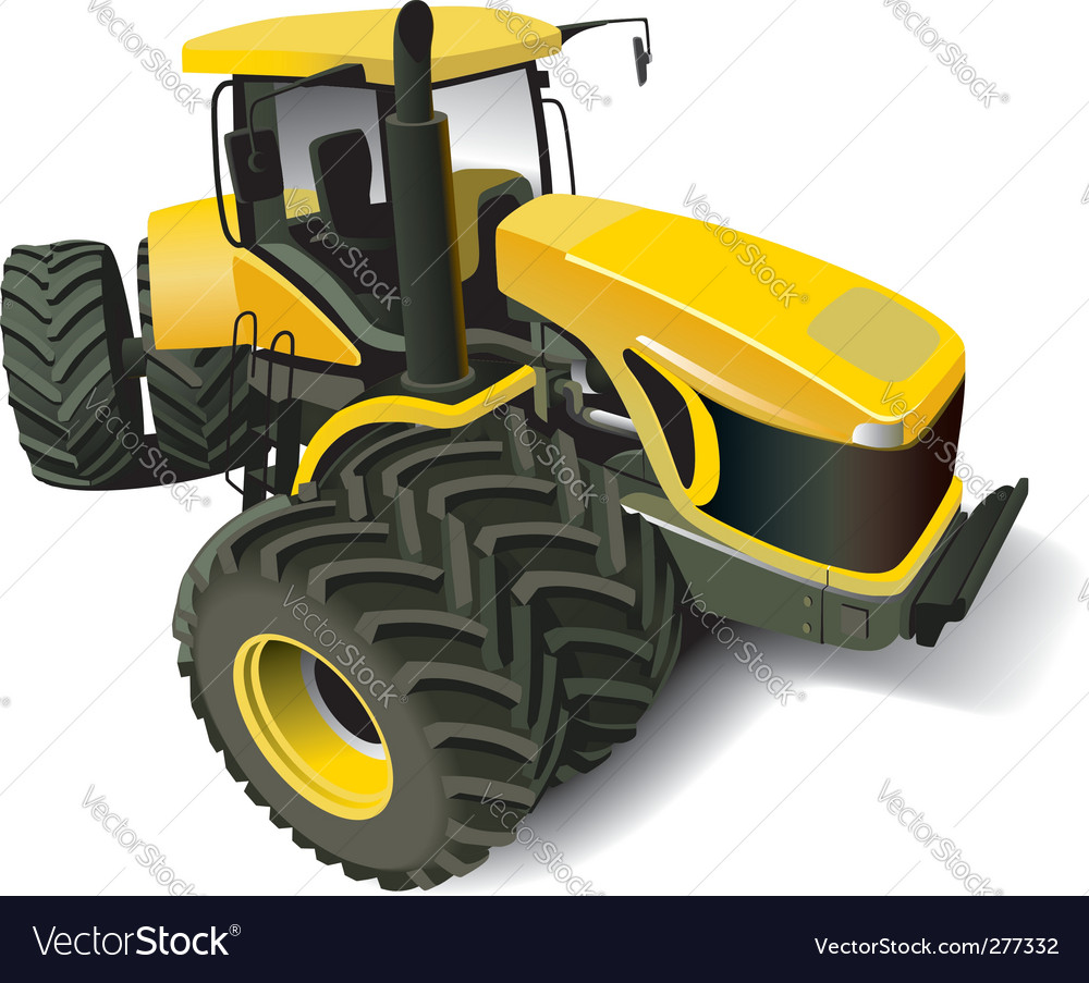Yellow modern tractor vector | Price: 3 Credit (USD $3)
