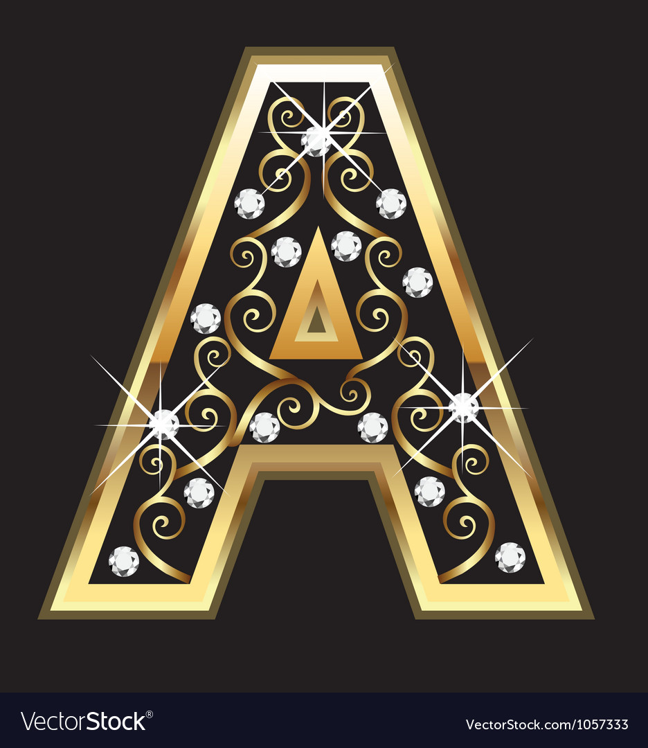 A gold letter with swirly ornaments vector | Price: 1 Credit (USD $1)