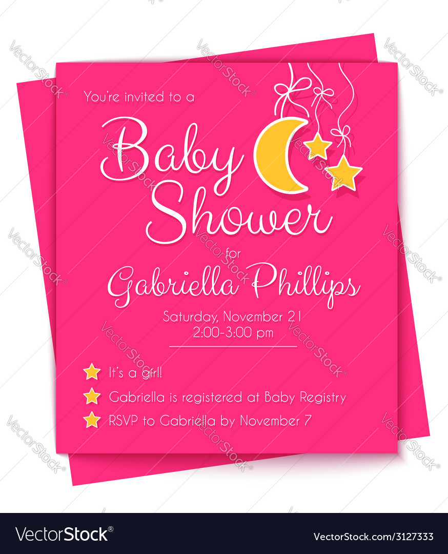 Baby shower invitation template vector | Price: 1 Credit (USD $1)