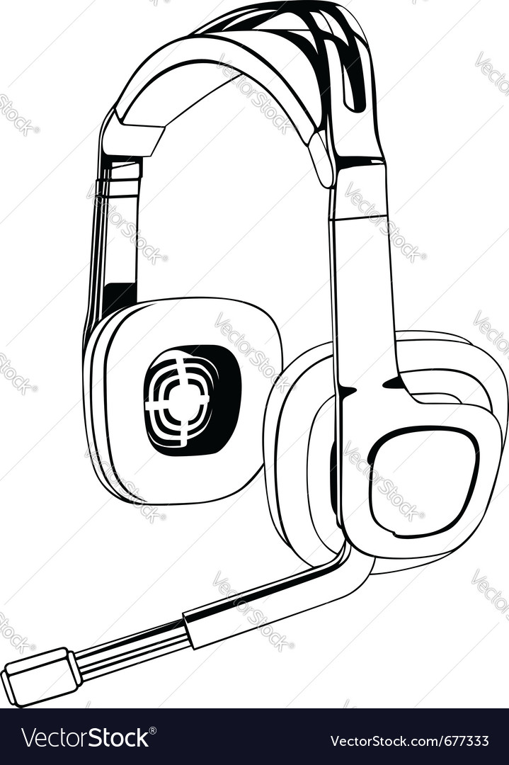 Black and white headphones vector | Price: 1 Credit (USD $1)